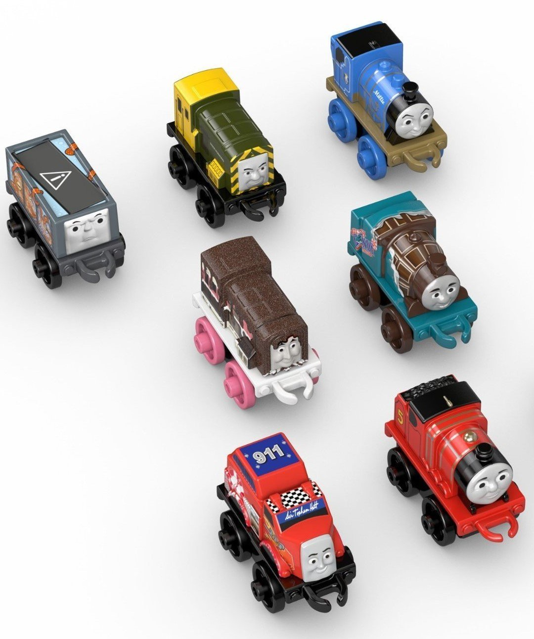 Fisher Price Thomas The Train Engine 7 Pack (Minis) Toy - Racing Flynn, Classic James, Classic Millie, Classic Iron Bert, Sweets Sidney, Sweets Ferdinand & Creature Troublesome Truck DTV15