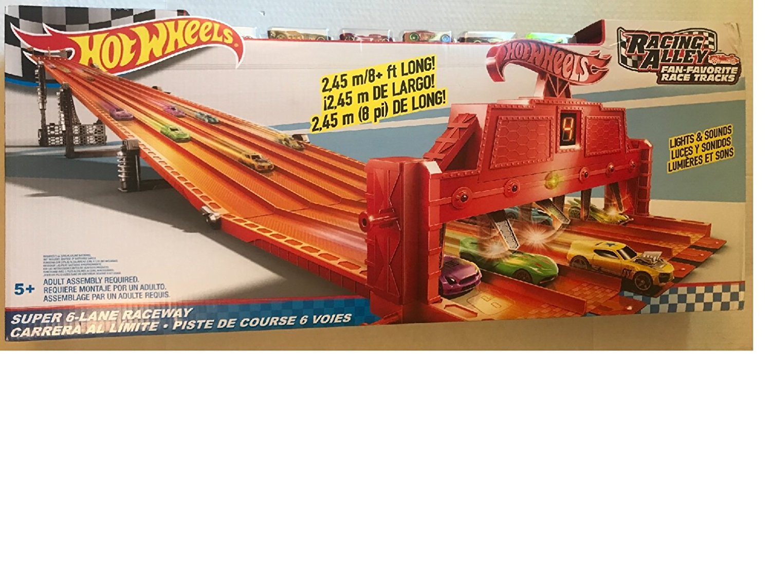 Hot Wheels Racing Alley Fan-Favorite Race Tracks Super 6-Lane Raceway DYT87