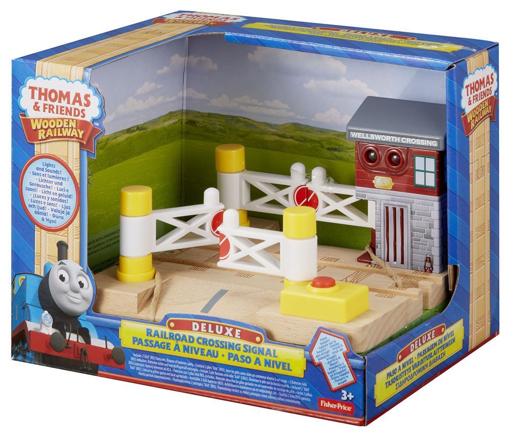 Fisher Price Thomas & Friends Wooden Railway, Deluxe Railroad Crossing Signal - Battery Operated Y4499