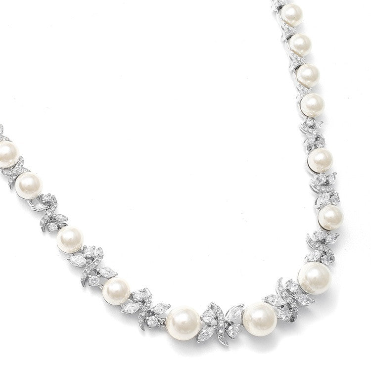 Luxurious Pearl and CZ Bridal Necklace 723N