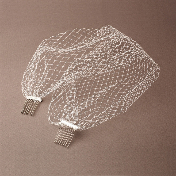 French Netting Birdcage Visor Veil - White 726FV