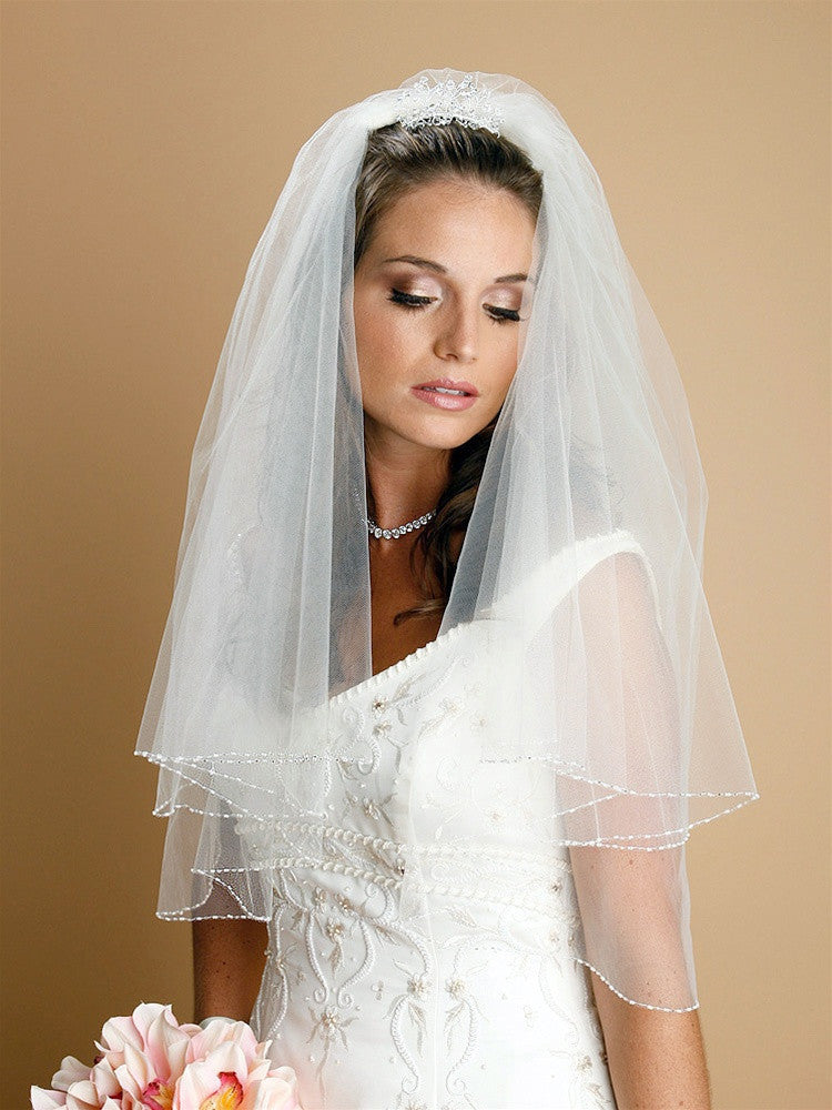 Two Tier Circular Cut Veil with Seed Bead and Bugle Bead Edging 885V