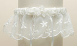Embroidered Wedding Garters with Rice Pearl Accents