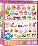 EuroGraphics Puzzles Sweet Puzzles-2pk /100pc (Cupcakes & Cake Pops)