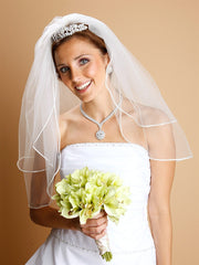 2-Layer Sheer Bridal Veil with Satin Corded Edge 913V-W