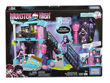 Mega Bloks Monster High School Fang Out School Play Set w/Draculaura and Elissabat Dolls DPK34