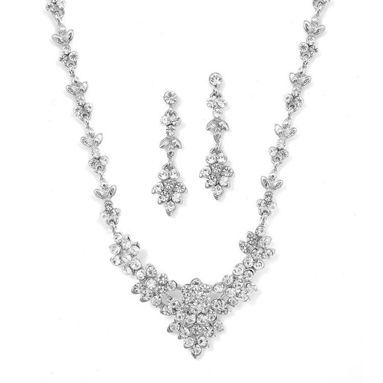 Crystal Cluster Bridal or Bridesmaid Necklace Set 929S