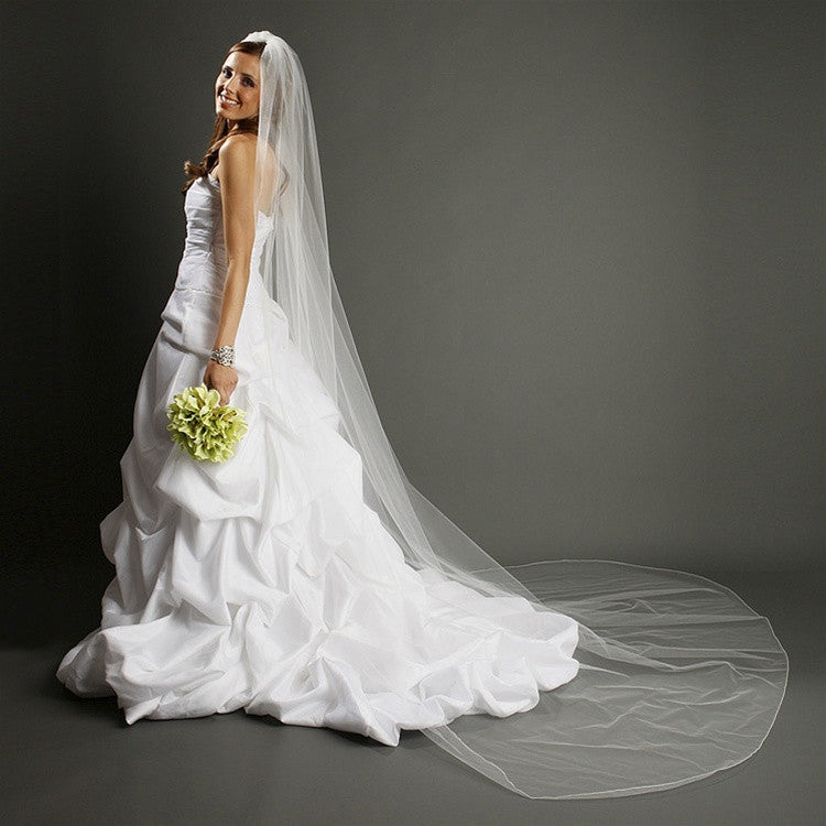 One Layer Dramatic Cathedral Length Wedding Veil with Pencil Edging 939V