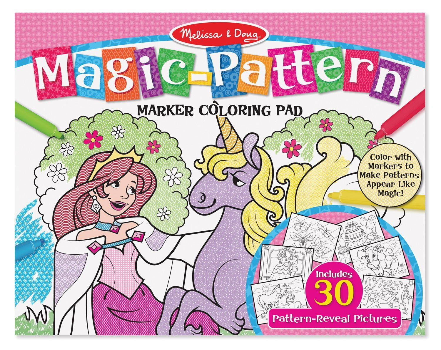 Melissa Doug Magic-Patterns Coloring Pad - Pink 9432
