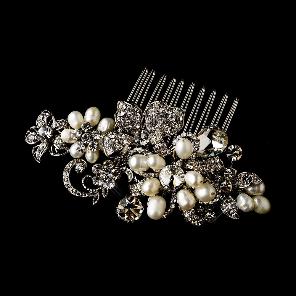 Antique Silver Pearl Comb 595