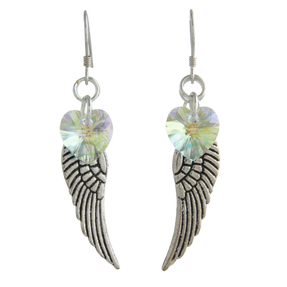 Woodstock Angel Wing Earrings - Aurora Borealis CWAB