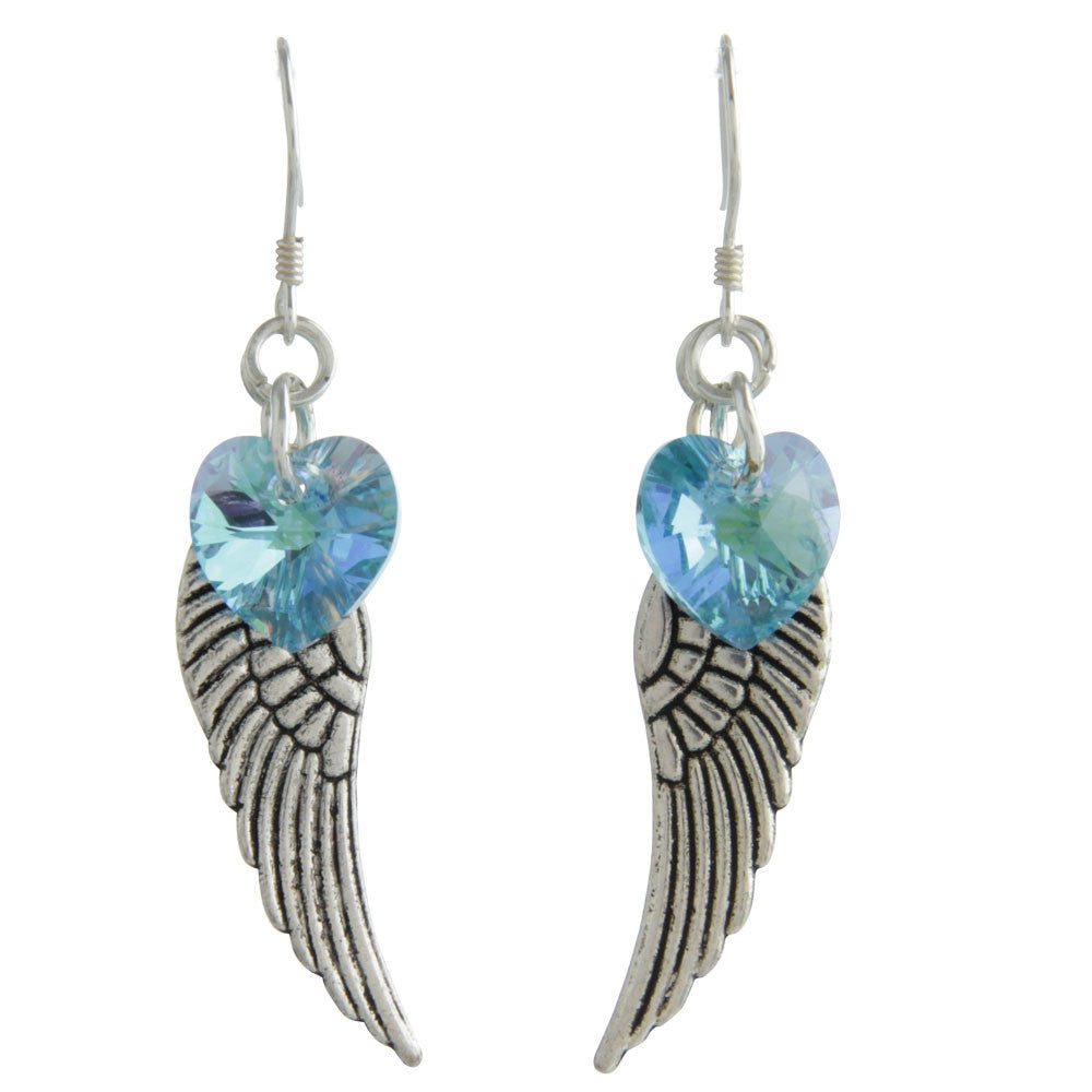 Woodstock Angel Wing Earrings - Aquamarine CWAQ
