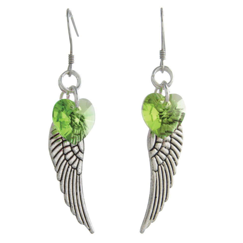 Woodstock Angel Wing Earrings - Peridot CWPE