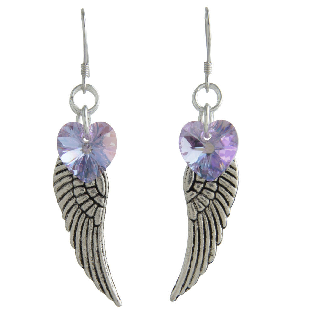 Woodstock Angel Wing Earrings - Violet CWVI