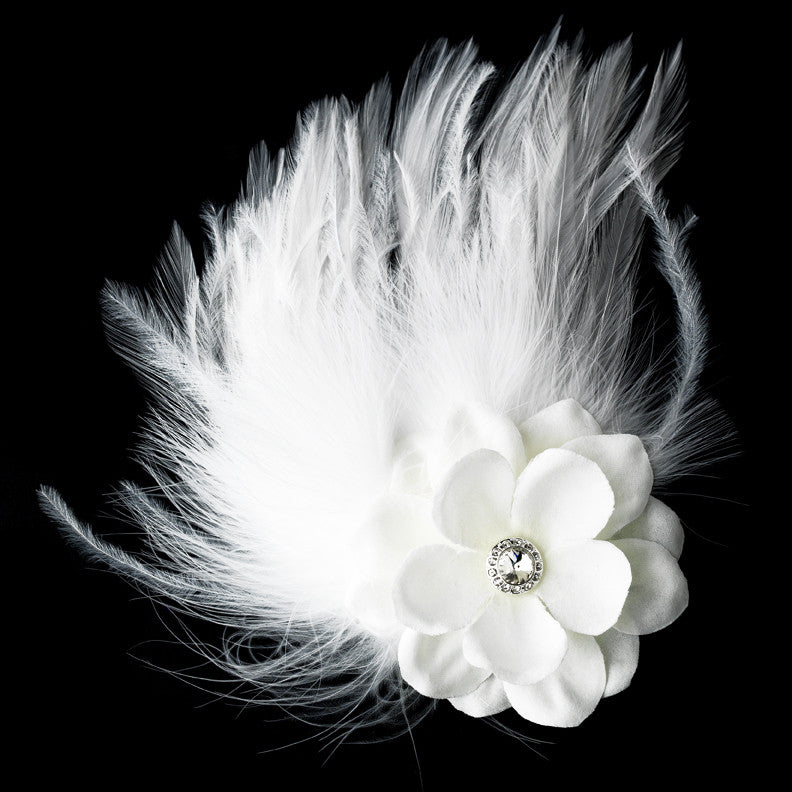 Flower Feather Fascinator Bridal Hair Clip 421