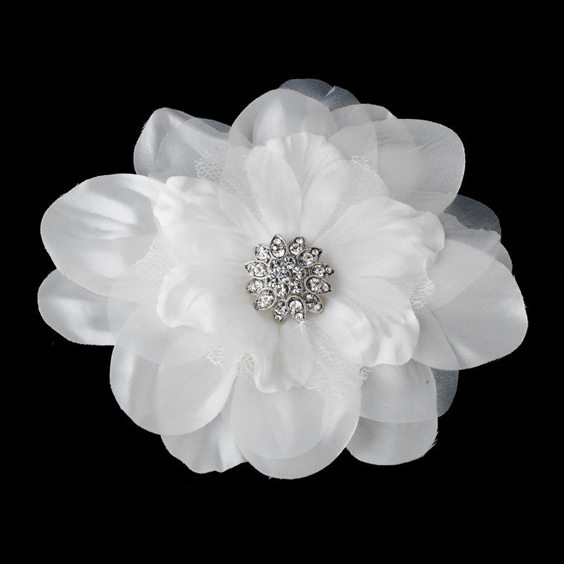 Beautiful Crystal Accented Flower Hair Clip  426 White or Ivory