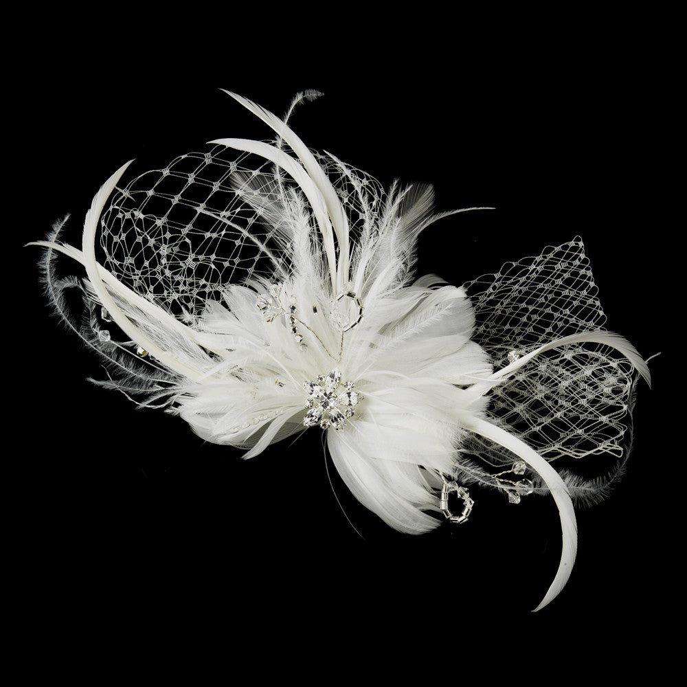 Ivory Flower Feather & Crystal Fascinator Hair Clip 518