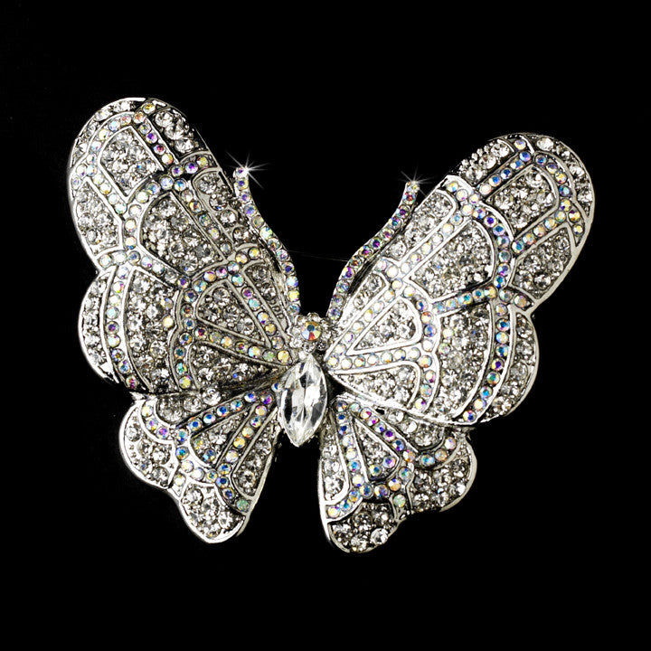 Elegant Antique Silver AB Rhinestone Butterfly Brooch or Hair Pin 7444