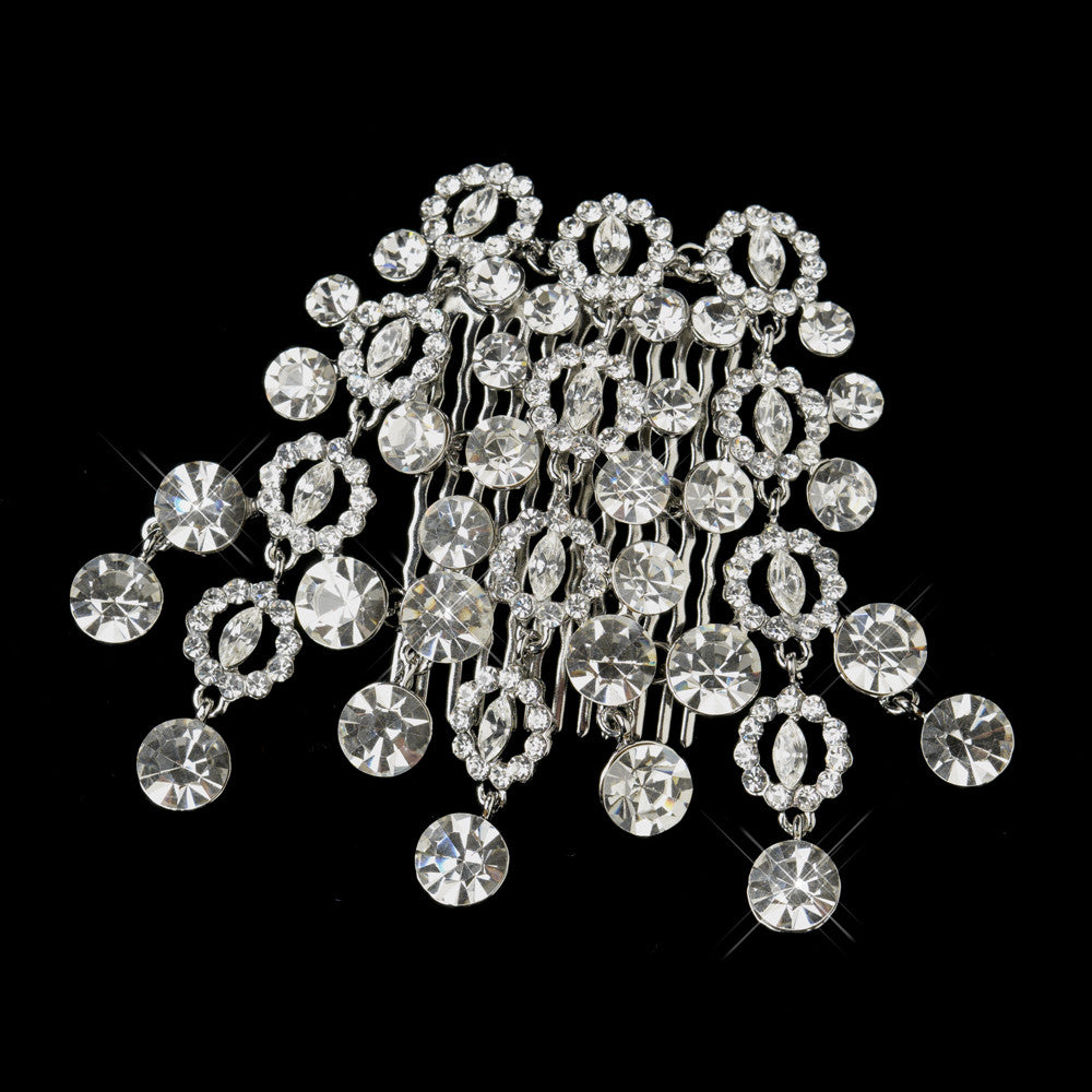 Antique Silver Clear Round Cut Dangle Rhinestone Side Comb 406