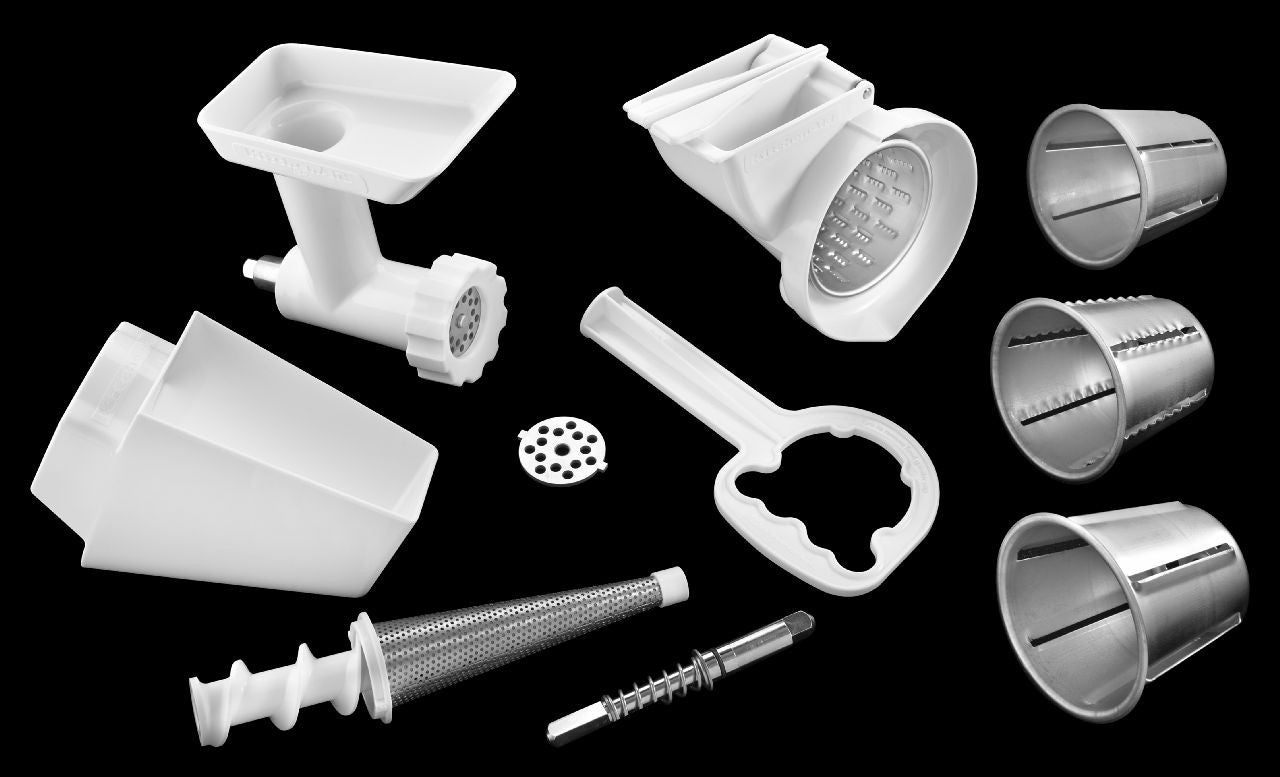 Kitchenaid Mixer Attachment Pack #1: Food Grinder & Frut/Vegetable Strainer Parts & Rotor Slicer/Shredder FPPA