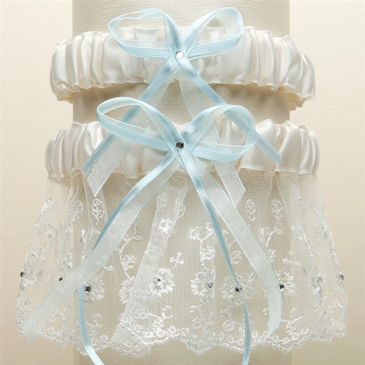 Embroidered Wedding Garter Sets with Scattered Crystals - White G021