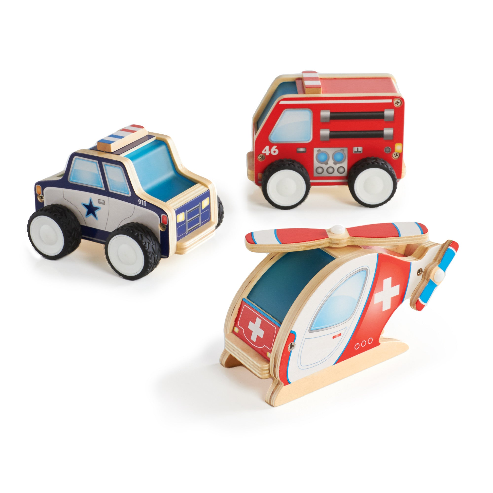 Guidecraft Jr Plywood Community Vehicles set of 3 Pieces G7521