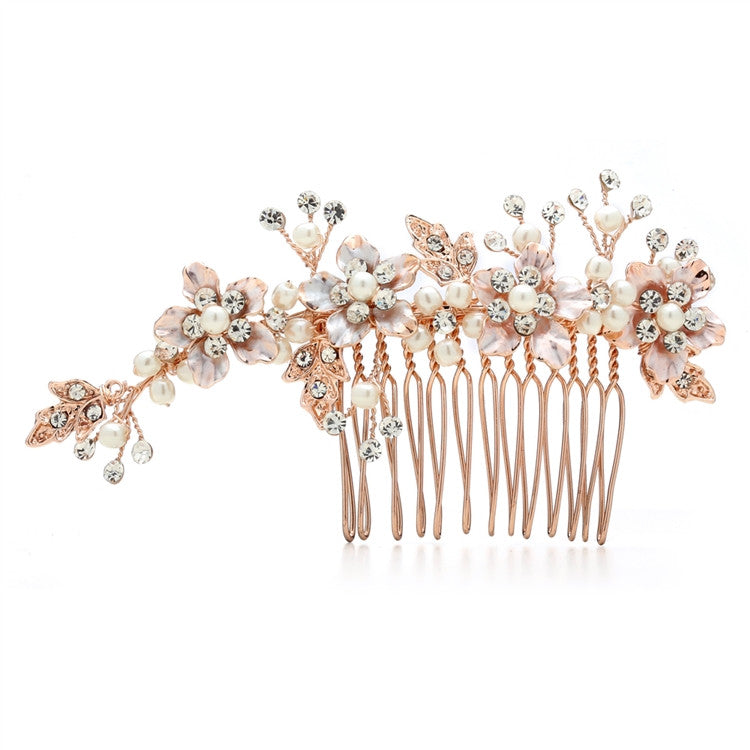 Brushed Gold and Ivory Pearl Wedding Comb H001-RG
