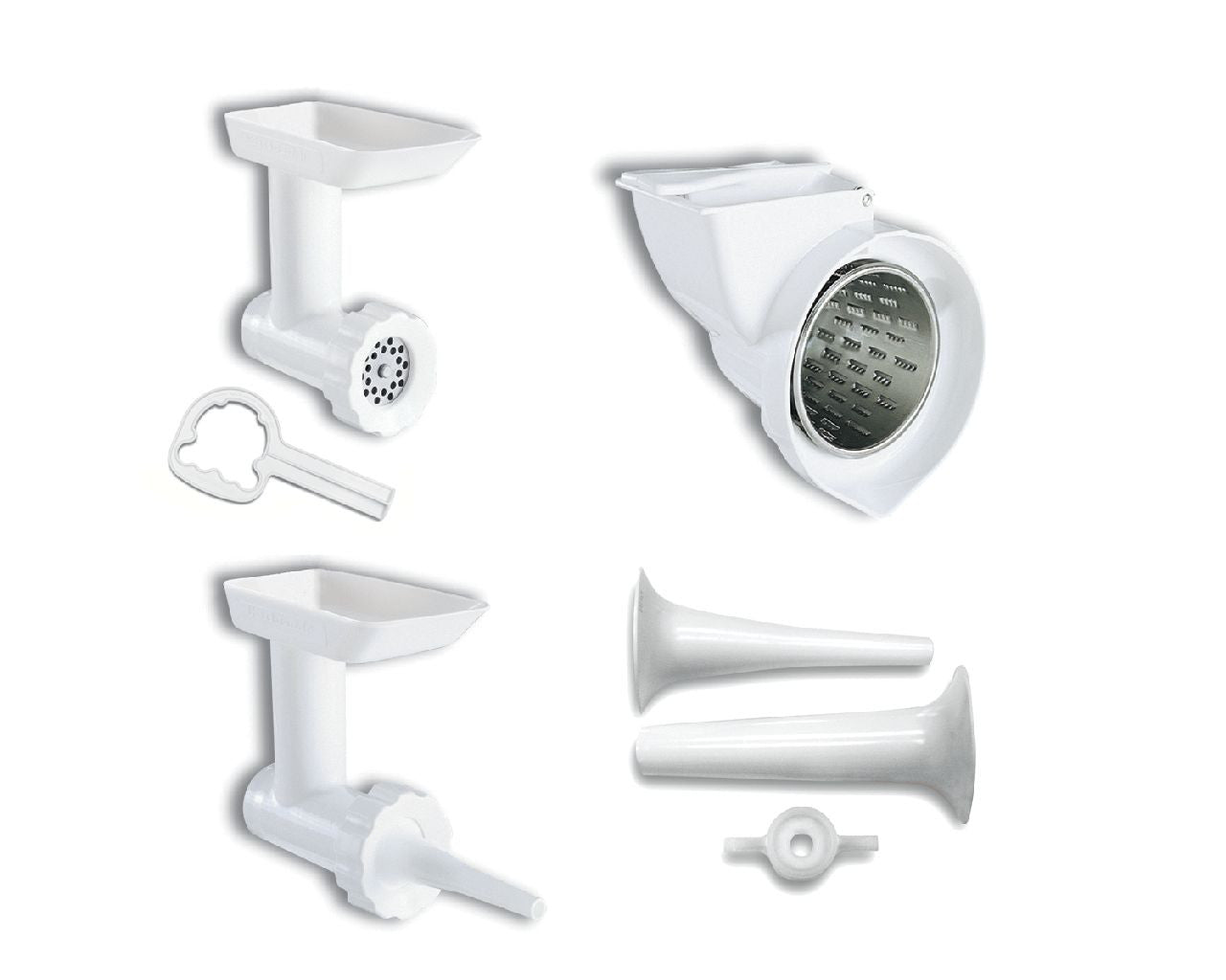 Kitchenaid Mixer Attachment Pack #2: - Food Grinder, Rotor Slicer/Shredder,  Sausage Stuffer Kit - KGSSA