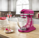 Kitchenaid 5 Qt. Artisan Design Series with Glass Bowl - Raspberry Ice KSM155GBRI