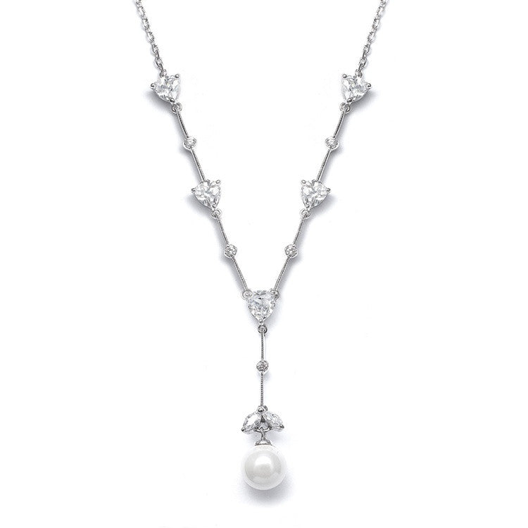 "CZ Trillions ""Y"" Necklace with Pearl N080"