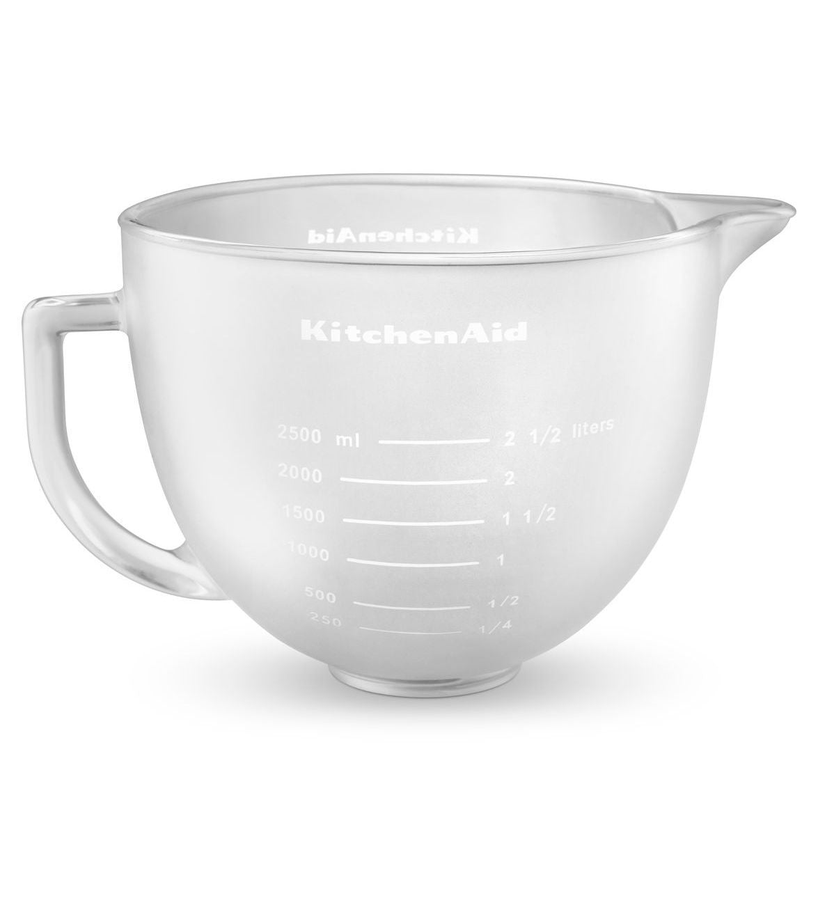 Kitchenaid 5 Qt. Frosted Bowl with Measurement Markings Pour Spout Lid K5GBF