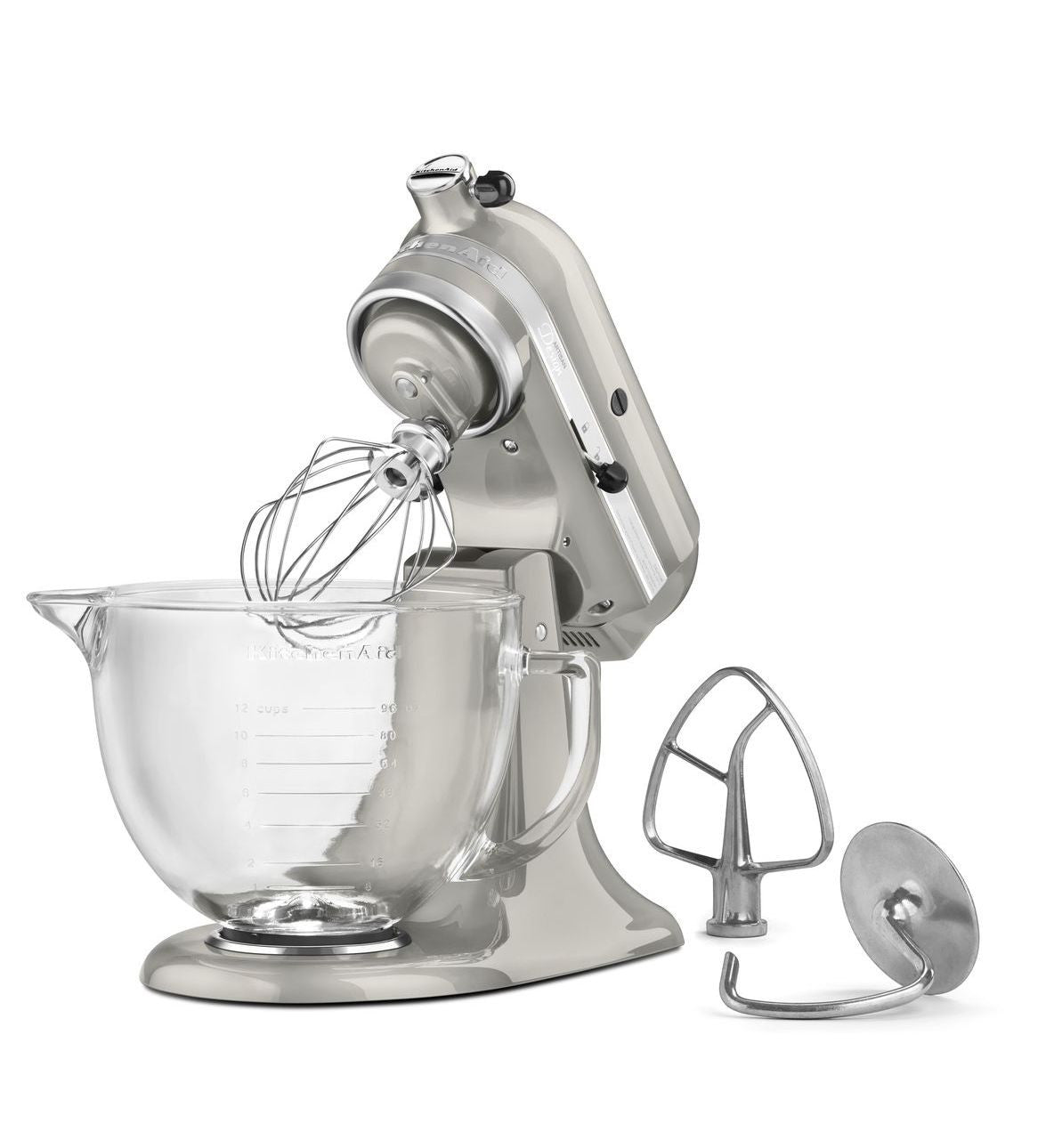 Kitchenaid 5 Qt. Artisan Design Series with Glass Bowl - Sugar Pearl Silver KSM155GBSR