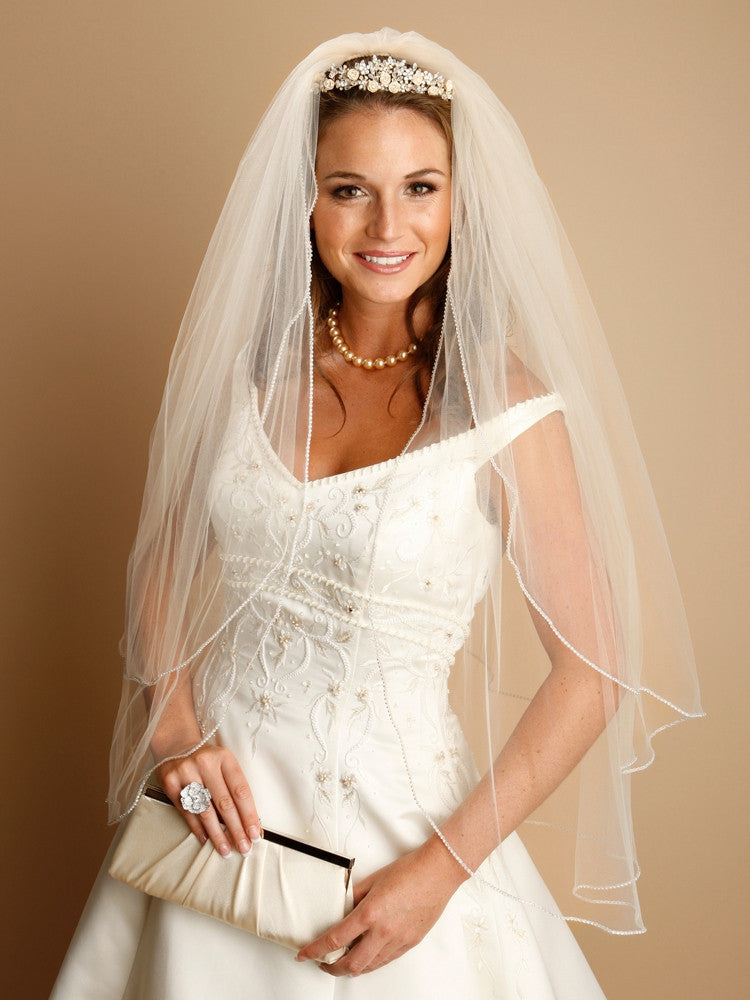 "2-Layer Rhinestone Edge Veil 30""/36"" V062"