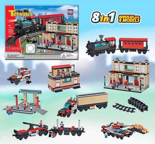 Brictek Train Station With Track 8-in-1 11703