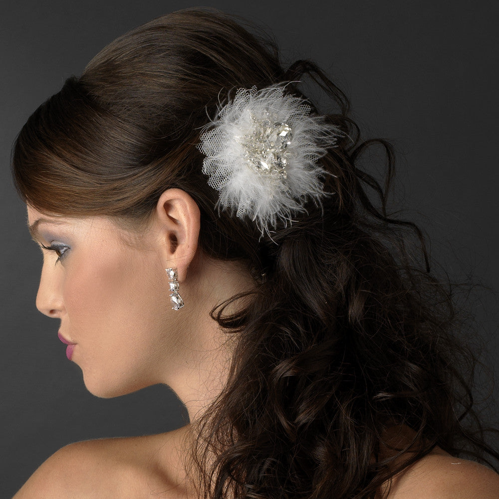 Exquisite Silver Clear Rhinestone & Swarovski Crystal Bridal Hair Clip White or Ivory Feathers 460