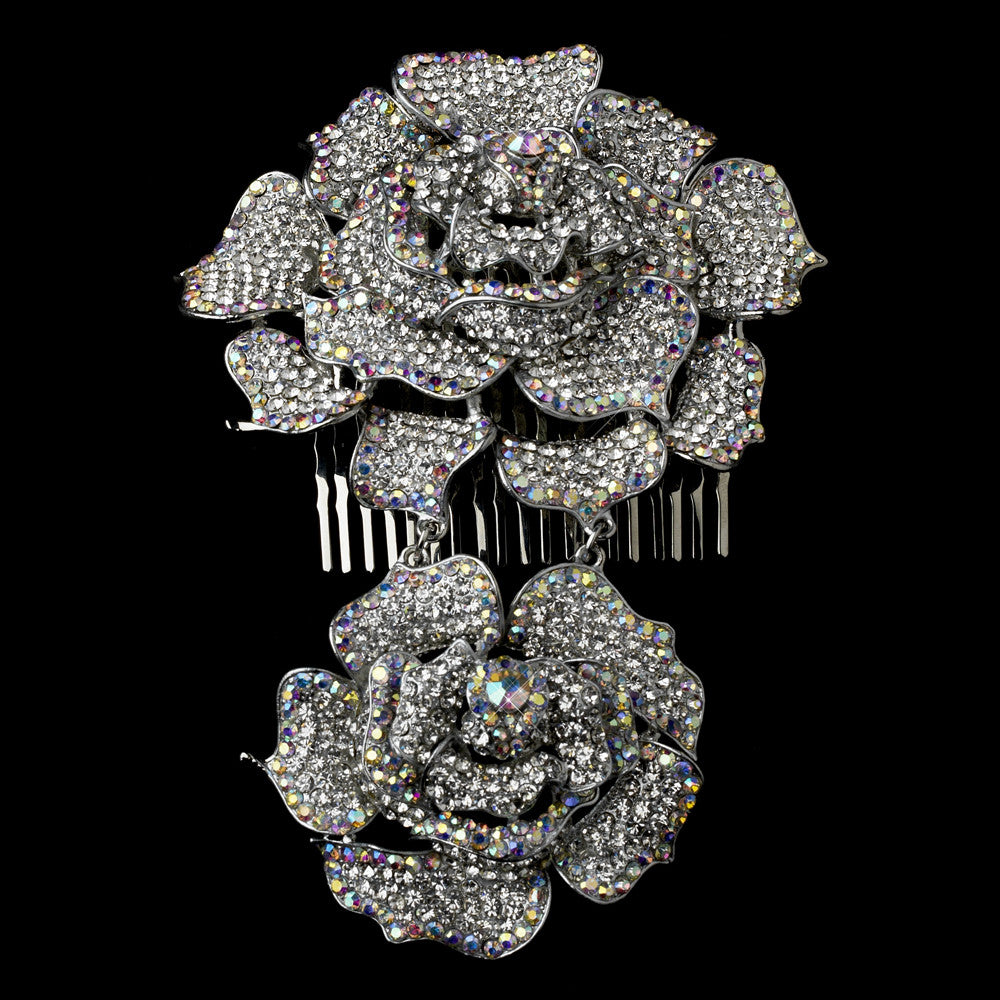 Antique Silver Clear & AB Crystal Flower Hair Comb 1124