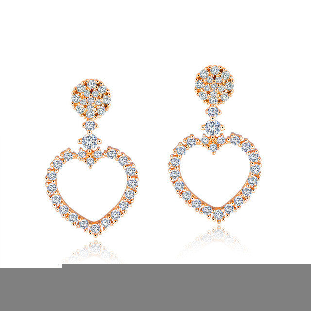 Love Heart Drop Earrings Hollow Design Pave Cubic Zirconia