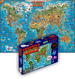 GeoToys Dino'S Children'S World Map – 500 Pc Jigsaw Puzzle