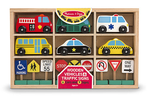 Melissa & Doug Wooden Vehicles and Traffic Signs 3177