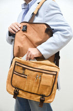 Load image into Gallery viewer, Men wearing a Natural Cork Laptop Bag Lutetia - CESARSCORK