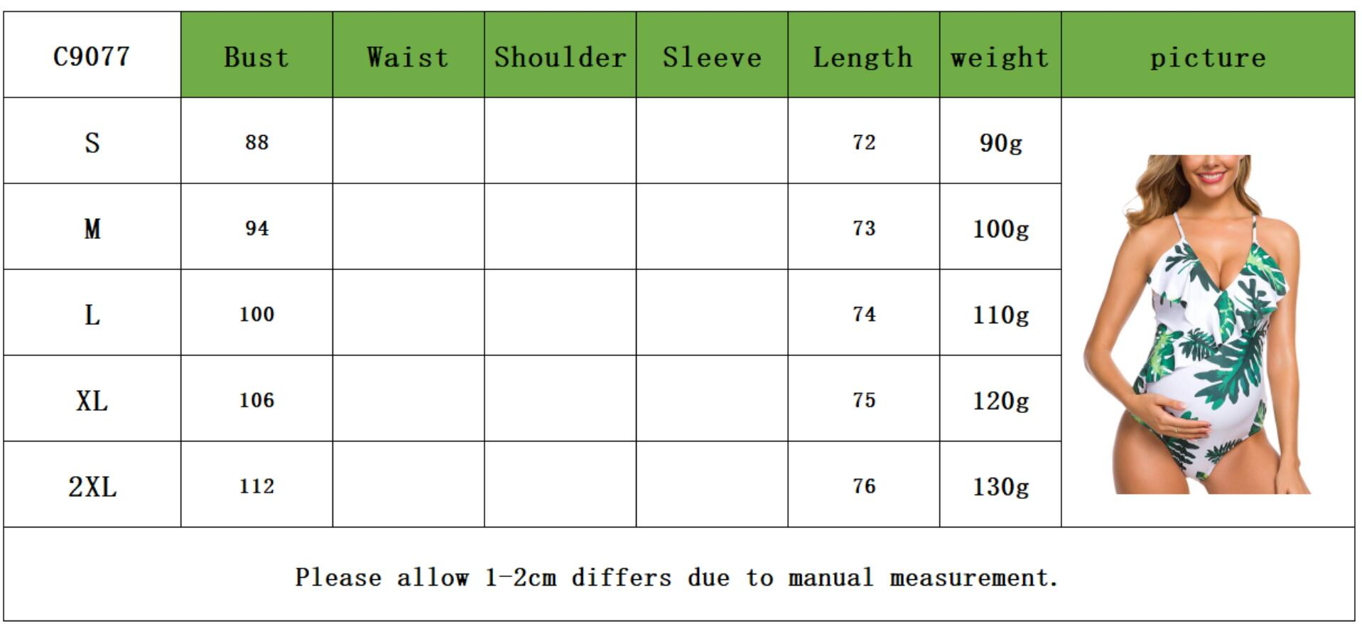 One-piece Leaves PrintV Neckline Maternity Swimwear with Neck Ideal For Bathing And Swimming. - ibuyxi.com