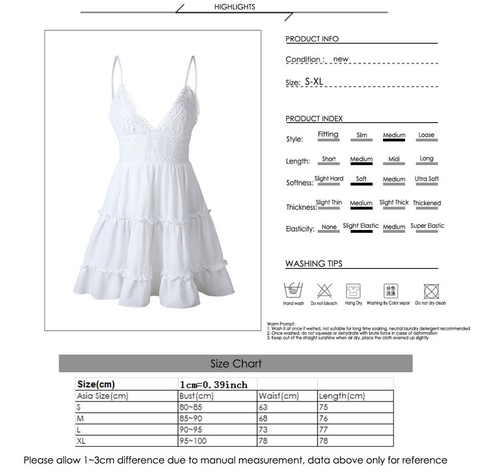 Bow Backless V-neck Mini Ruffle Sleeveless Beach Dress, iBuyXi.com, Simple and Concise Back Butterfly knot Strap, Sheer White Lace and Frill Waist Dress. Sexy V-neck and Alluring Backless Design