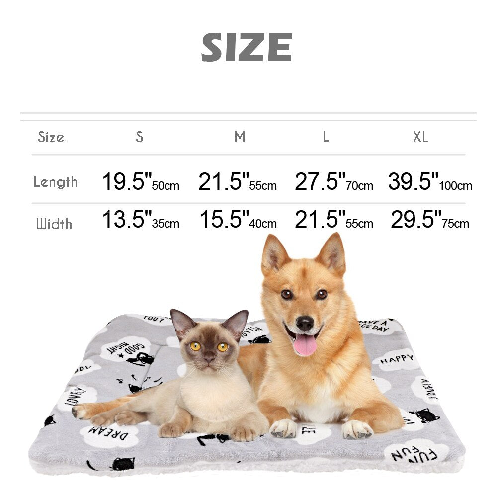 Warm Dog Pet Mat Soft, Thickening Print Autumn And Winter, Cat Dog Bed Cushion Blanket For Small Medium Large Dogs, Cats S M L XL, iBuyXi.com