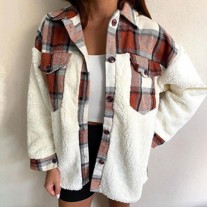 Patchwork Plaid Teddy Coat, Women Fuzzy Sherpa Fleece Warm Jacket Button Collar Long Sleeve Sweatshirt Plaid Plush Patchwork Shirt Outwear Tops Coat with Pockets Fall Winter Clothes, iBuyXi.com, Online shopping store, women clothing, stylish women jacket, casual coat for women, gift idea for girlfriend
