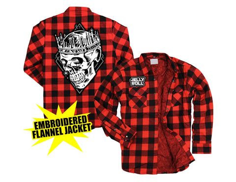 Jelly Roll Skull Flannel Jacket w/ Red Liner
