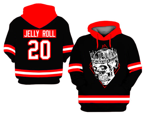 Jelly Roll Skull Jersey Style Hoodie