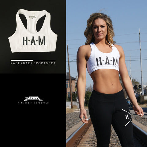 Performance HAM Racerback Sportsbra - Black & White