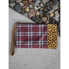 Plaid and Cheetah Wristlet