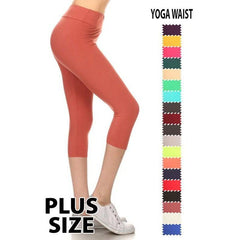 PLUS Capri Leggings Yoga band in Black - Texas Two Boutique