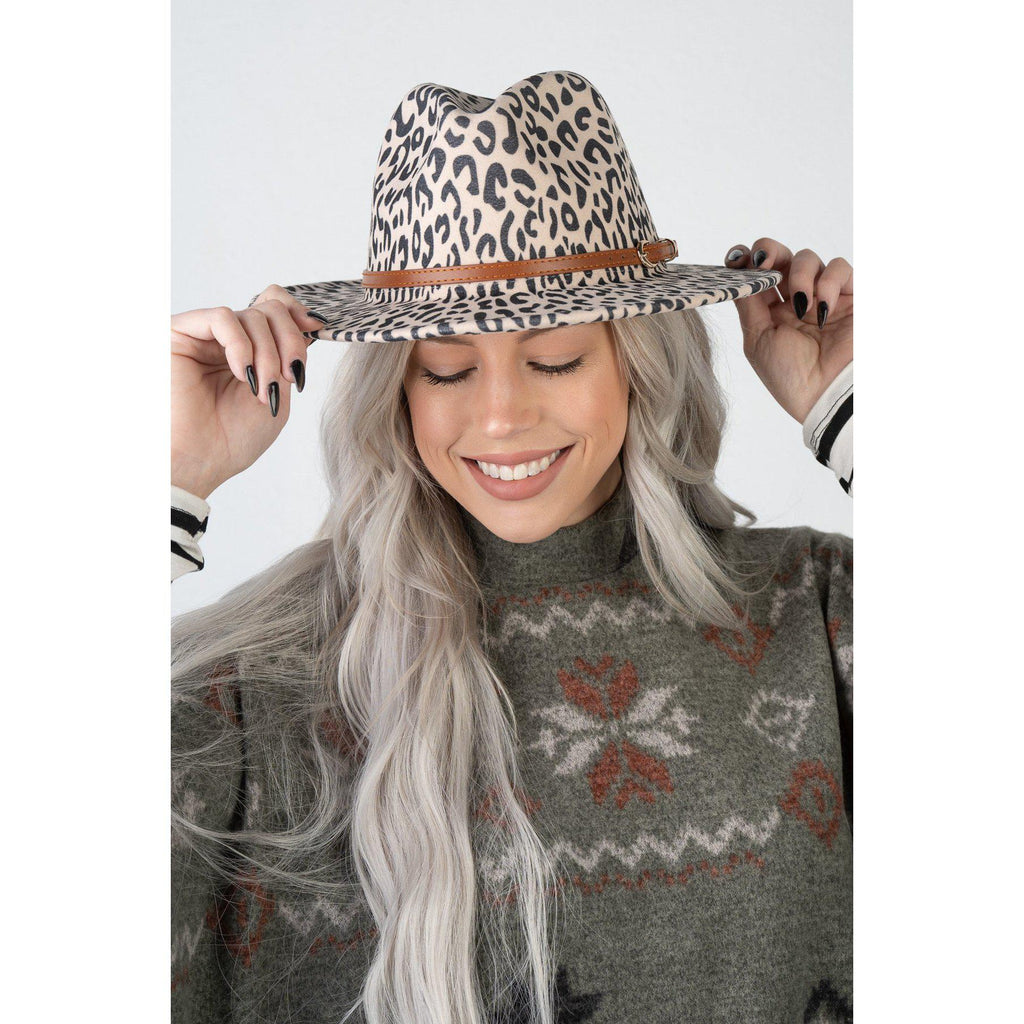 Wide Brim Fedora Leopard Hat (4 Colors to Choose From)